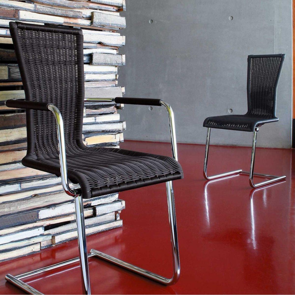 Jimmy Rundrohr-Freischwinger-Stuhl mit Sitz und Rücken in hochwertigem Saleen-Geflecht